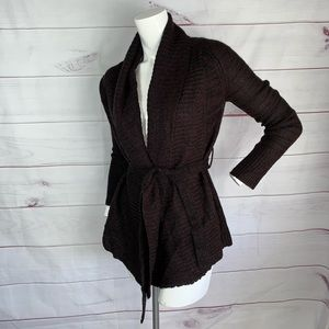Ambiance brown open front knitted sweater